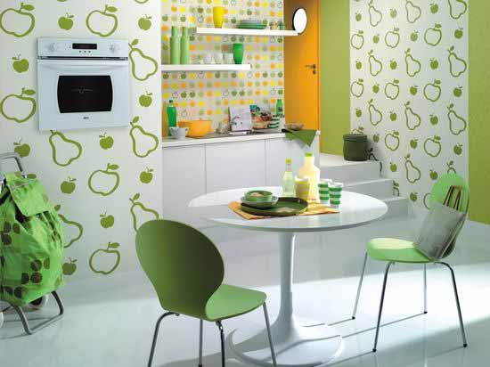 Crerative-Green-Fruity-Kitchen-Wallpaper-Deisgn