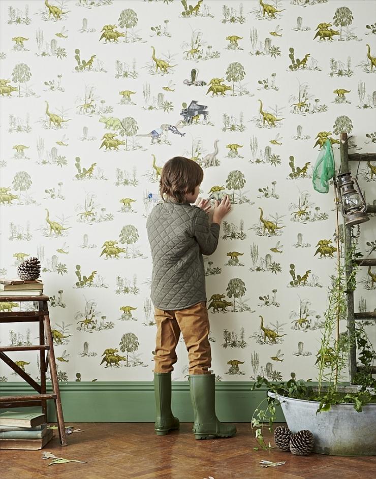 Dinosaur-themed-magnetic-wallpaper-for-the-kids-room