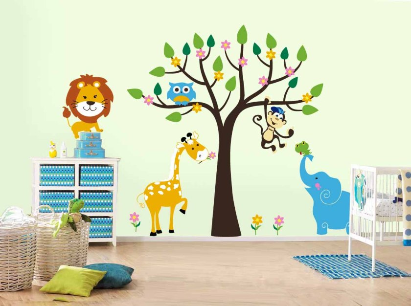 kid-bedroom-outstanding-image-of-airplane-boy-bedroom-decoration-using-tree-animal-kid-room-wall-mural-including-narrow-light-blue-stripe-kid-dresser-and-small-light-blue-kid-bedroom-rug-inspiring-air