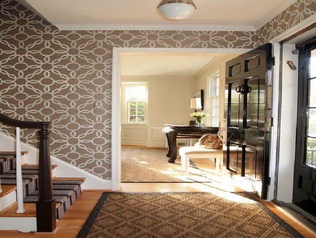 Traditional-Entry-Design-For-Home-Improvement-With-Wallpaper-by-Baltimore-Interior-Designer