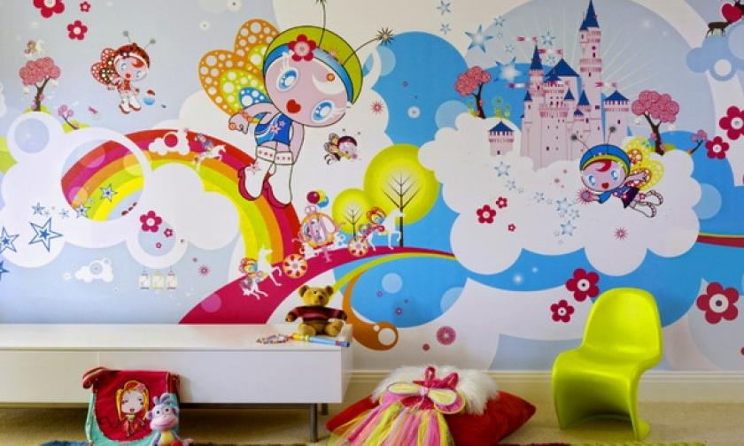 Cute-Wall-Murals-and-Decal-Ideas-for-Bedroom-Design-Kids-Bedroom-Mural-Ideas-Cartoon-Theme-